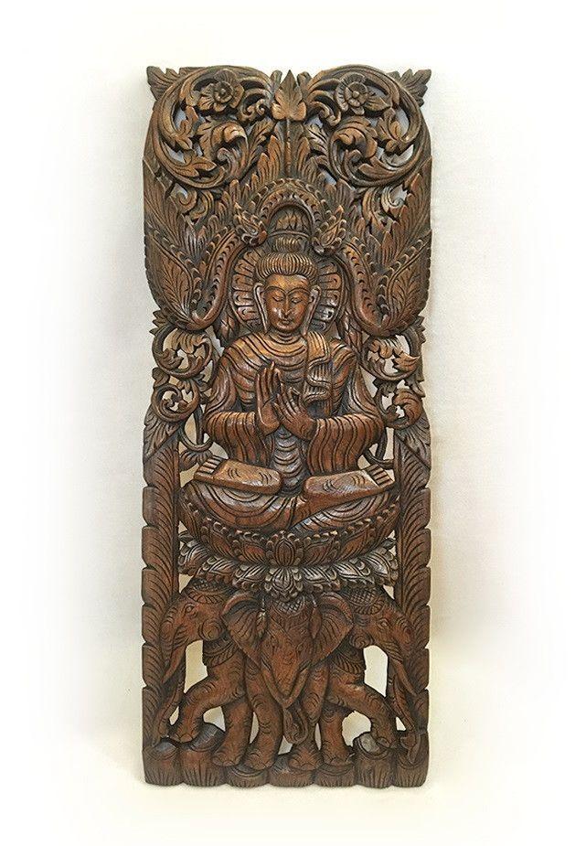 Large carved wood panel buddha wall art buddha wood wall decor buddha on elephants carved wood wall decor in dark brown finish 35 5x13 5x1