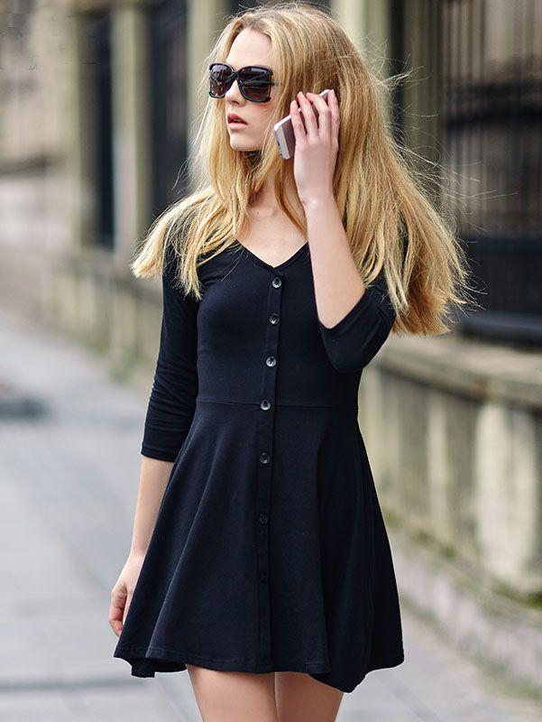 5d563a247a Vestido cuello V botones -negro 12.95
