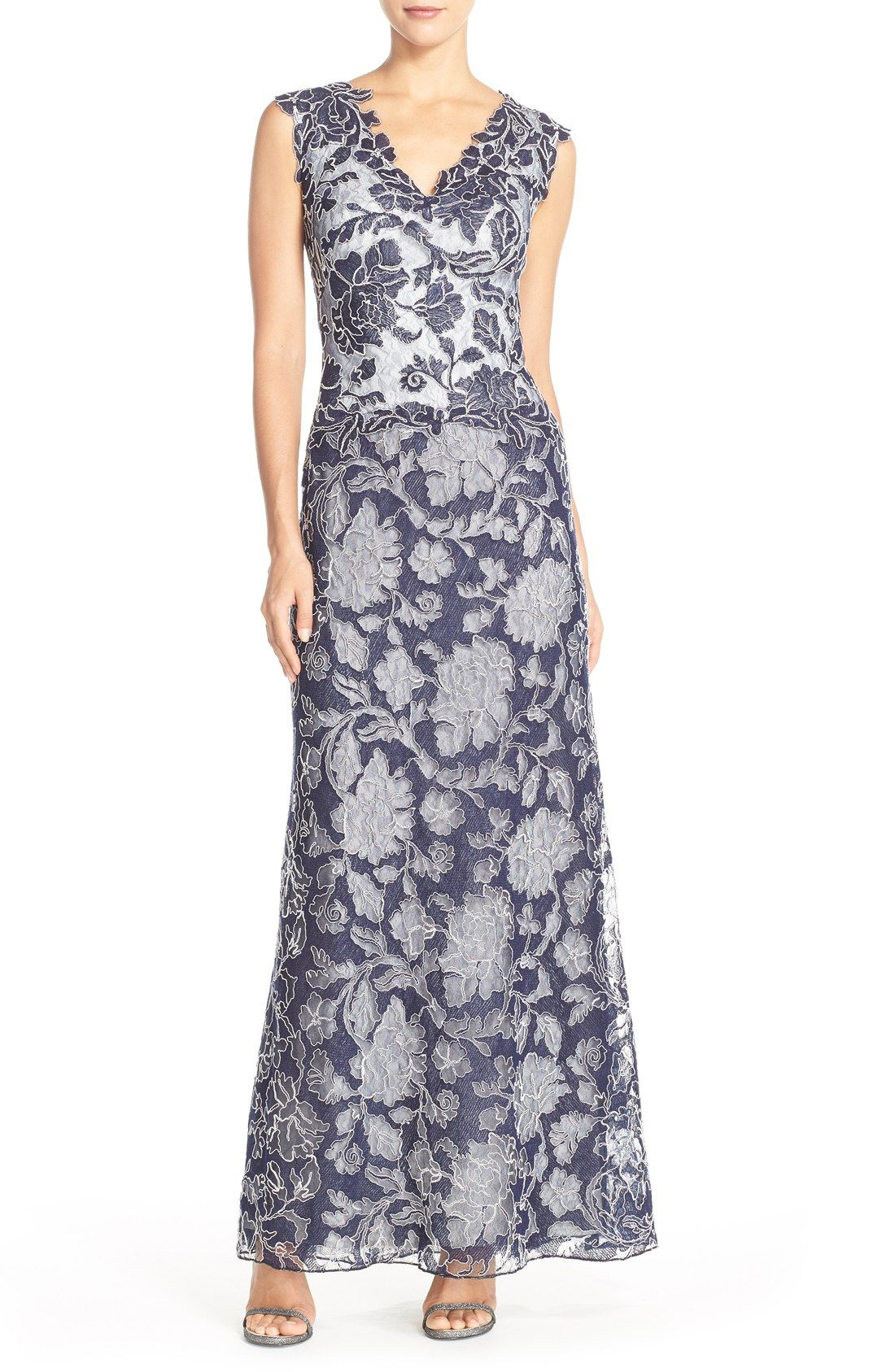 Tadashi Shoji Embroidered Lace Gown available at