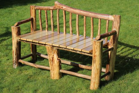 The Golden Garden Rustic Bench Wood Logs Rustic Furniture