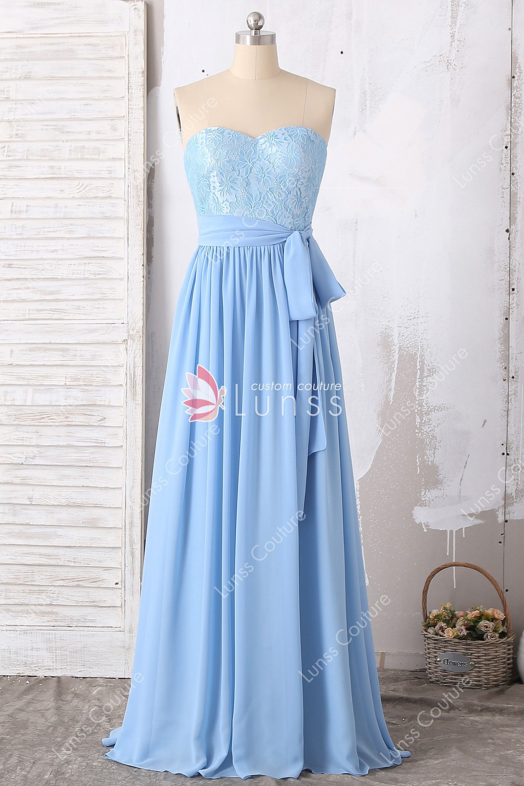 dc5d38d7d3cd Sky Blue Strapless Sweetheart Lace Flowy Chiffon Floor-length Bridesmaid/ Prom  Dress