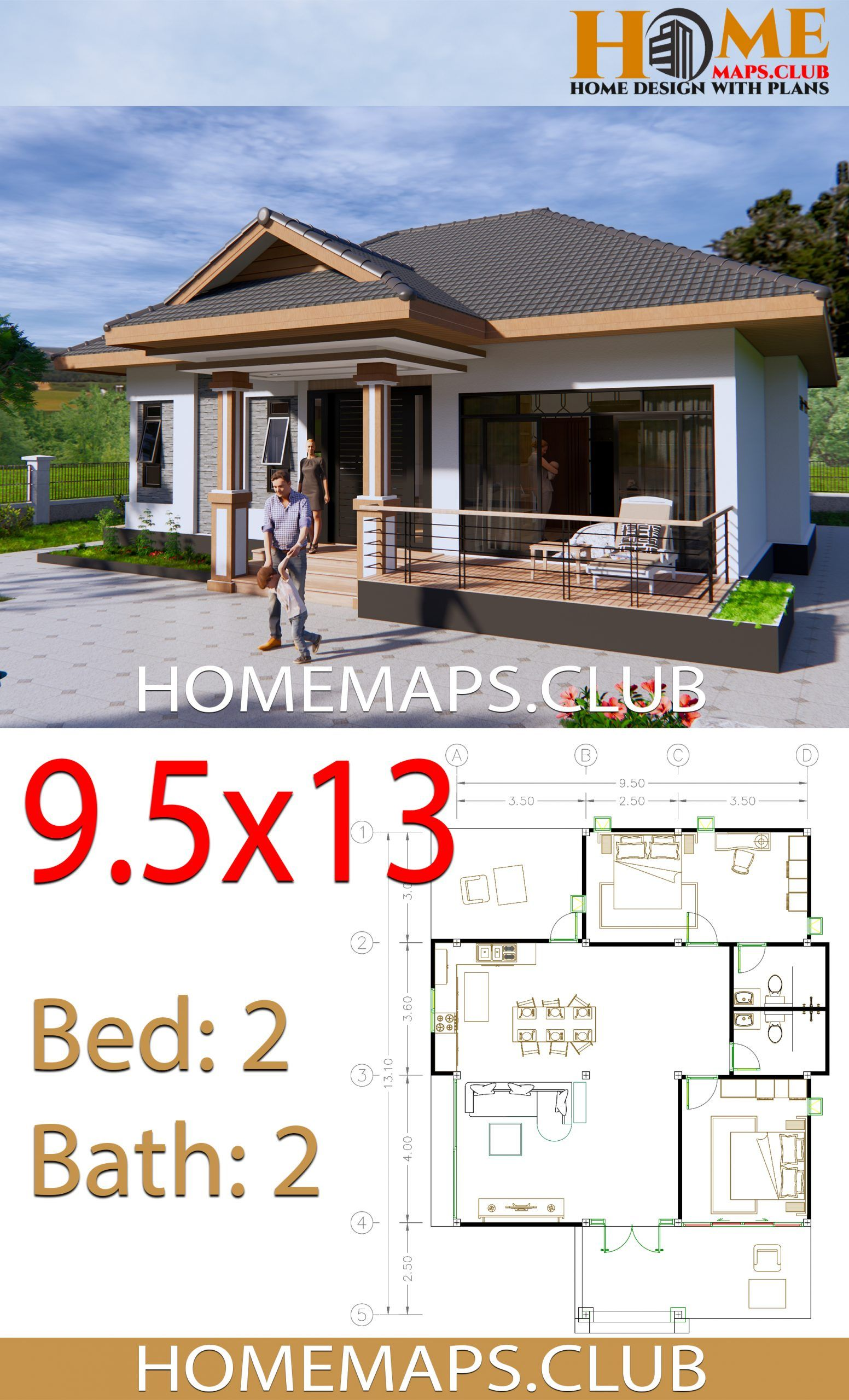 House Plans 9x13 5 With 2 Bedrooms Hip Roof House Plans Hip Roof Small House Design Plans