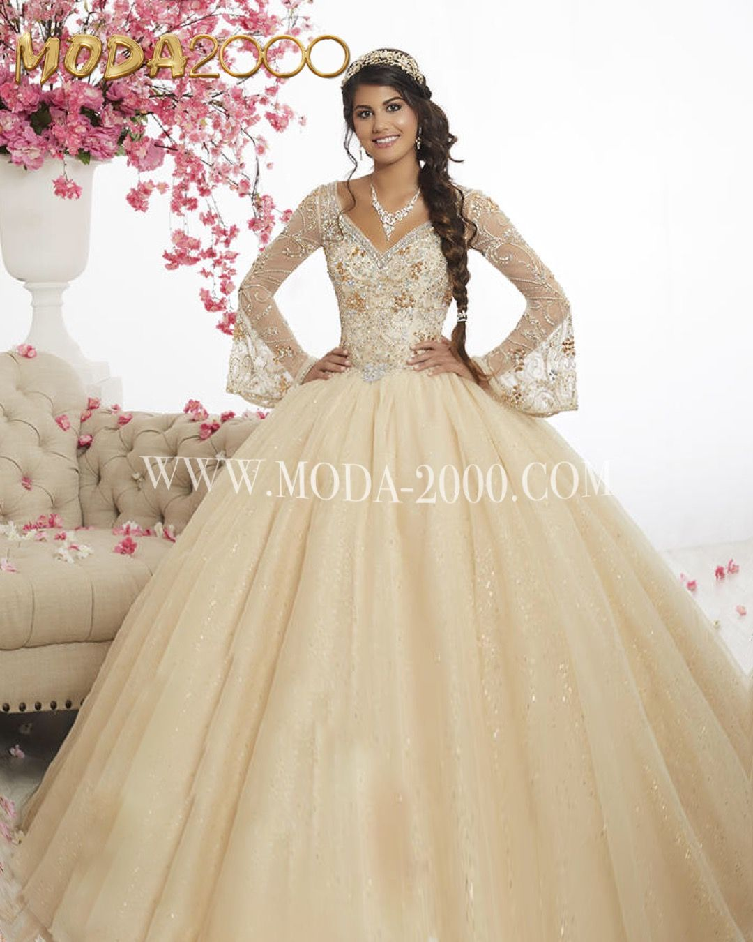 Long Sleeve Champagne Quinceanera Dress No Ruffles Available At Moda 2000 Instagram Moda2000in Satin Homecoming Dress Quinceanera Dresses Quince Dresses [ 1350 x 1080 Pixel ]