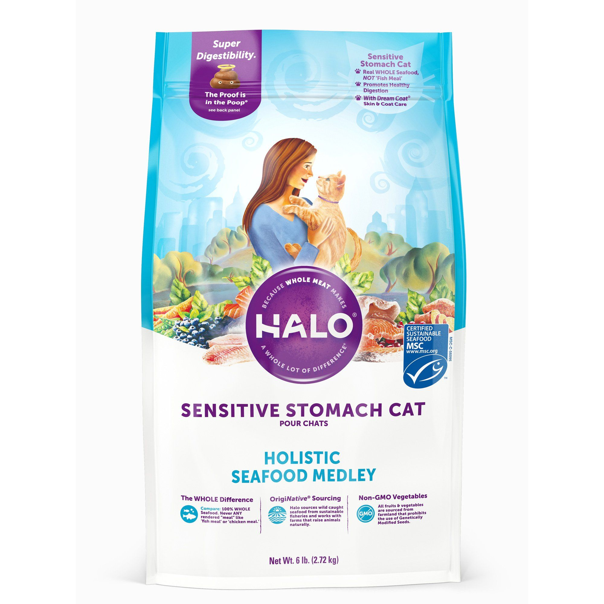 Halo sensitive stomach holistic seafood medley dry cat