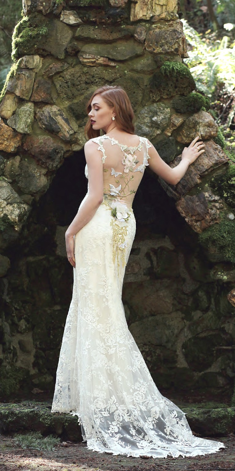 ca6a6259fec Claire Pettibone Papillon wedding dress with illusion embroidered butterfly  back