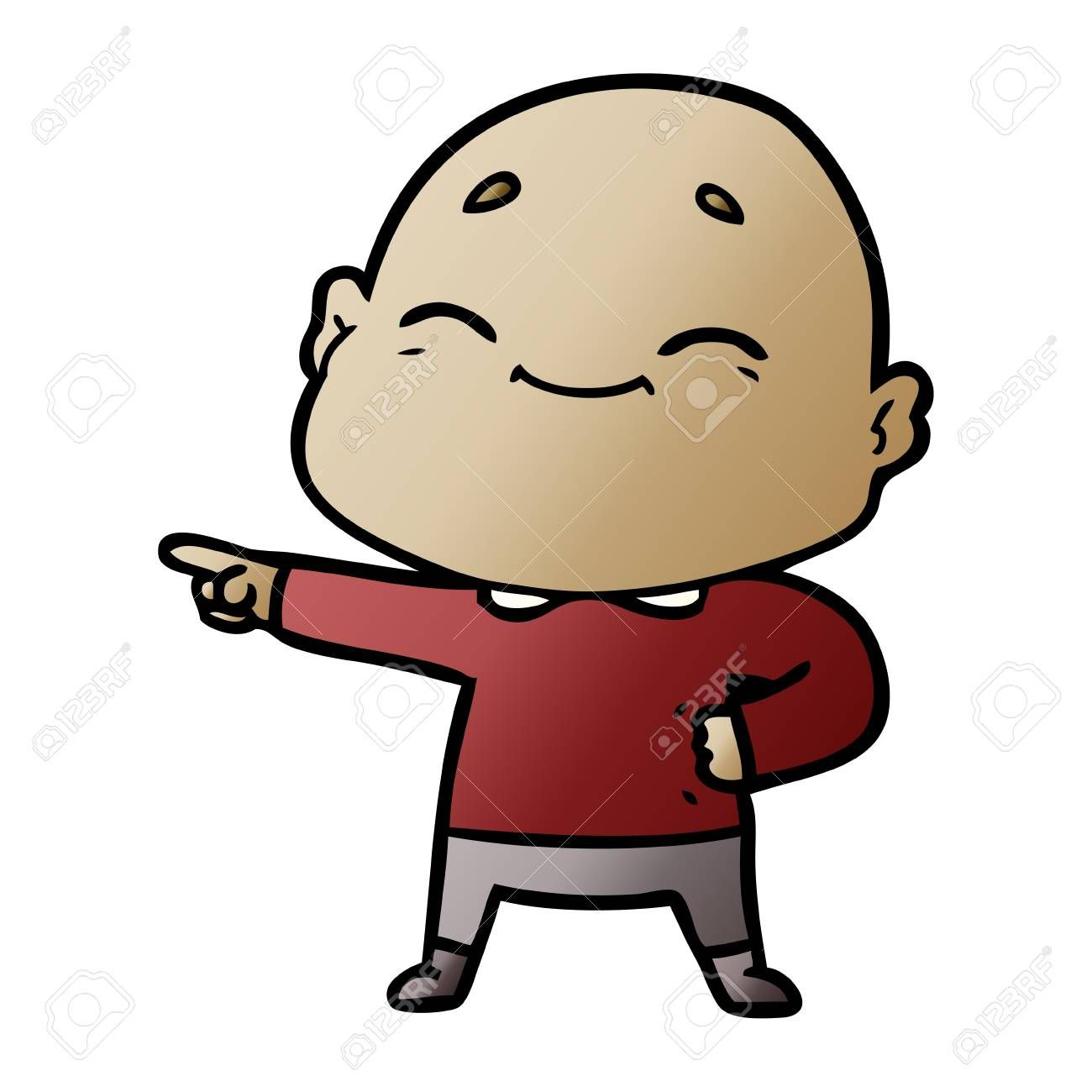 Happy cartoon bald man , Sponsored, cartoon, Happy,