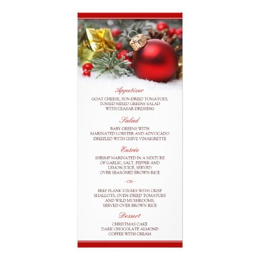 christmas and holiday dinner menu cards template
