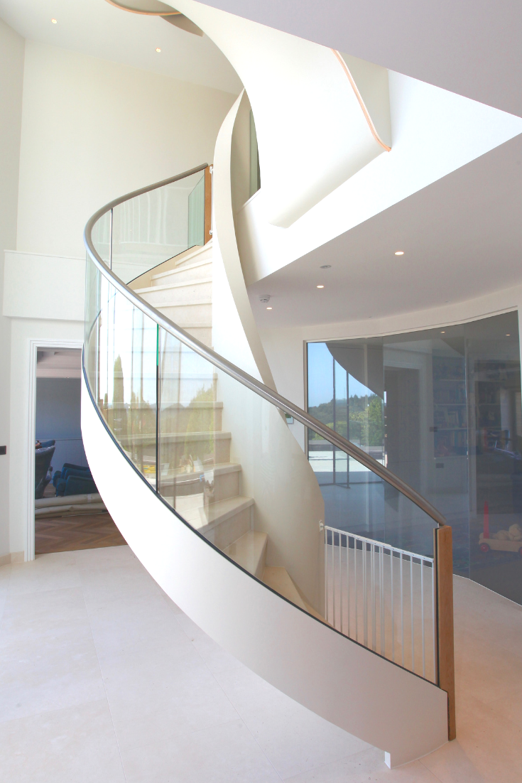Best Beautiful Elliptical Staircase With Toughened Curved Glass 400 x 300