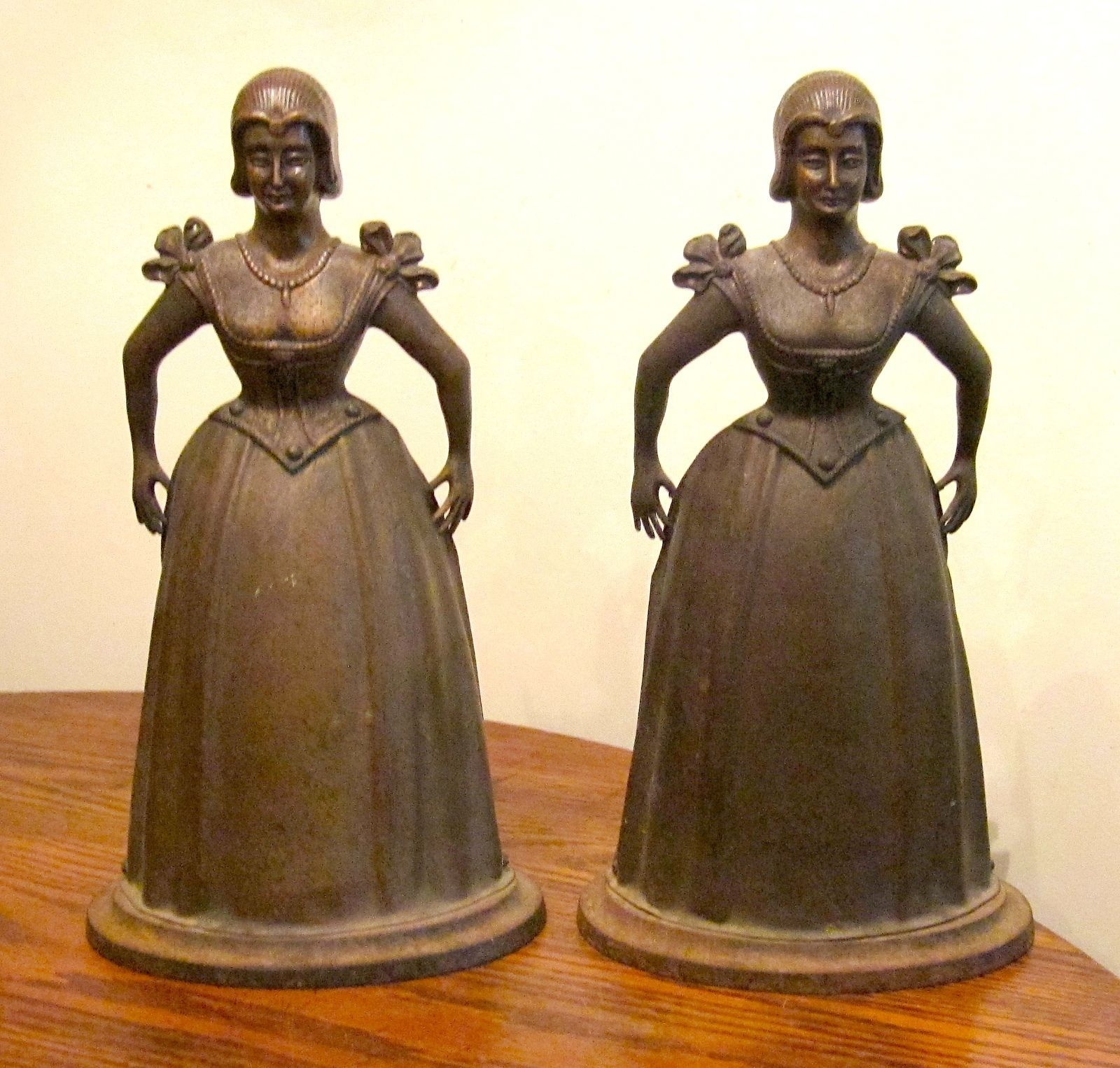 pair antique cast iron bronze female figural fireplace firedogs