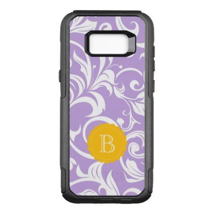 Lavender Peach Floral Wallpaper Swirl Monogram OtterBox Commuter Samsung Galaxy S8 Case - pattern sample design template diy cyo customize