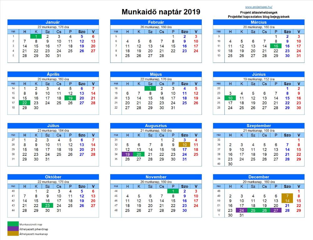 Munkaidő naptár 2019 - Letölthető és nyomtatható ...