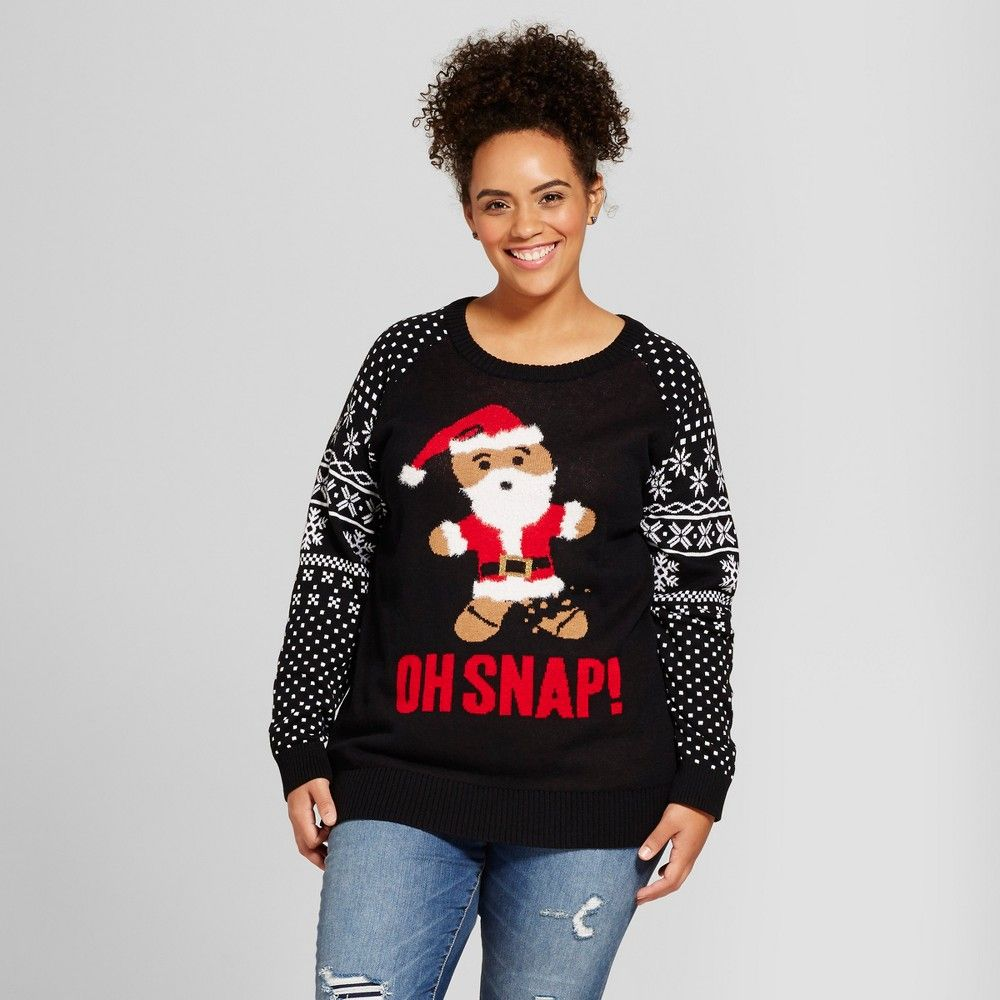 Women\'s Plus Size Oh Snap Long Sleeve Ugly Christmas Sweater - Well ...