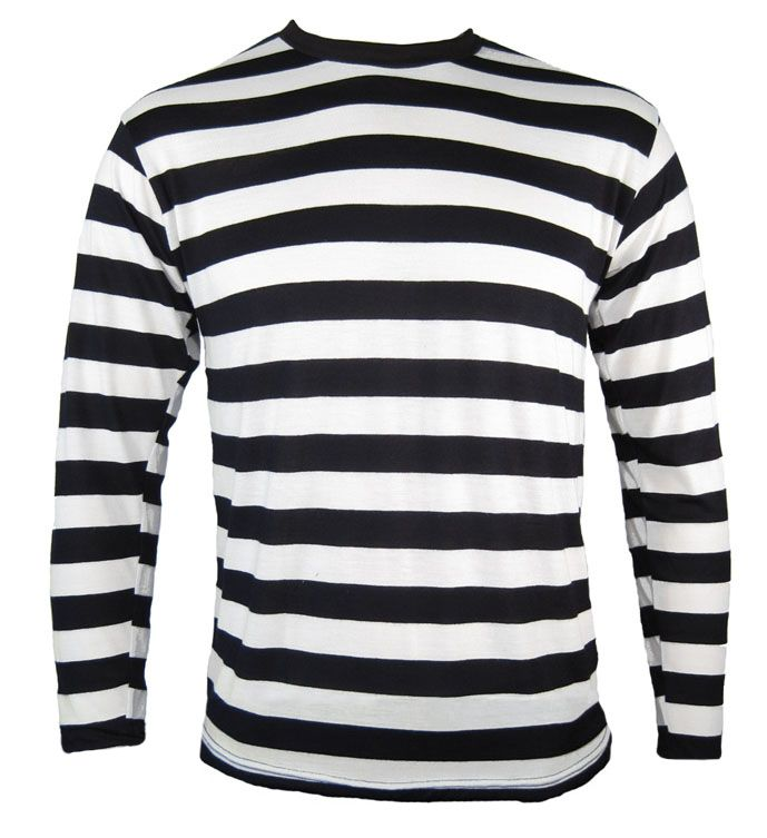 3897a270 Long Sleeve Punk Emo Mime Stripe Striped Shirt Black White Teen Child Youth  | eBay
