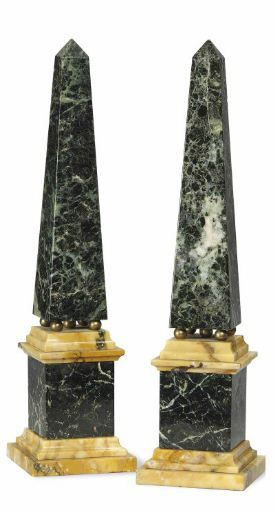A Pair Of Verde Antico And Siena Marble Obelisks Second Half 20th Century Each Raised On Four Brass Balls Above A Stepped Plinth 13 In 33 Cm High