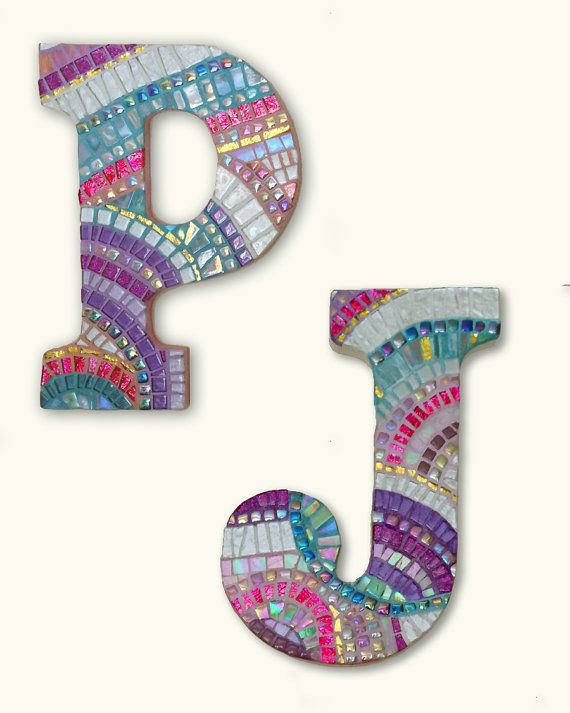 Mosaic Monogram Letter or logo 9 inch by hamptonmosaics on