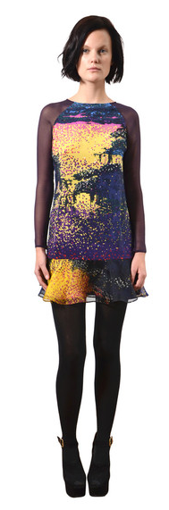 Timo Weiland. Anastasia silk dress. Love the bright atmospherical print with sheer chiffon sleeves