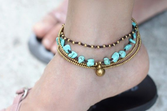Turquoise Brass Chain Anklet ($9.00) - Svpply
