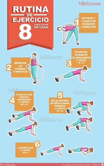 Hábitos Health Coaching Rutina De Ejercicio Para Hacer En Casa Fitness Training Fitness Workout Routine