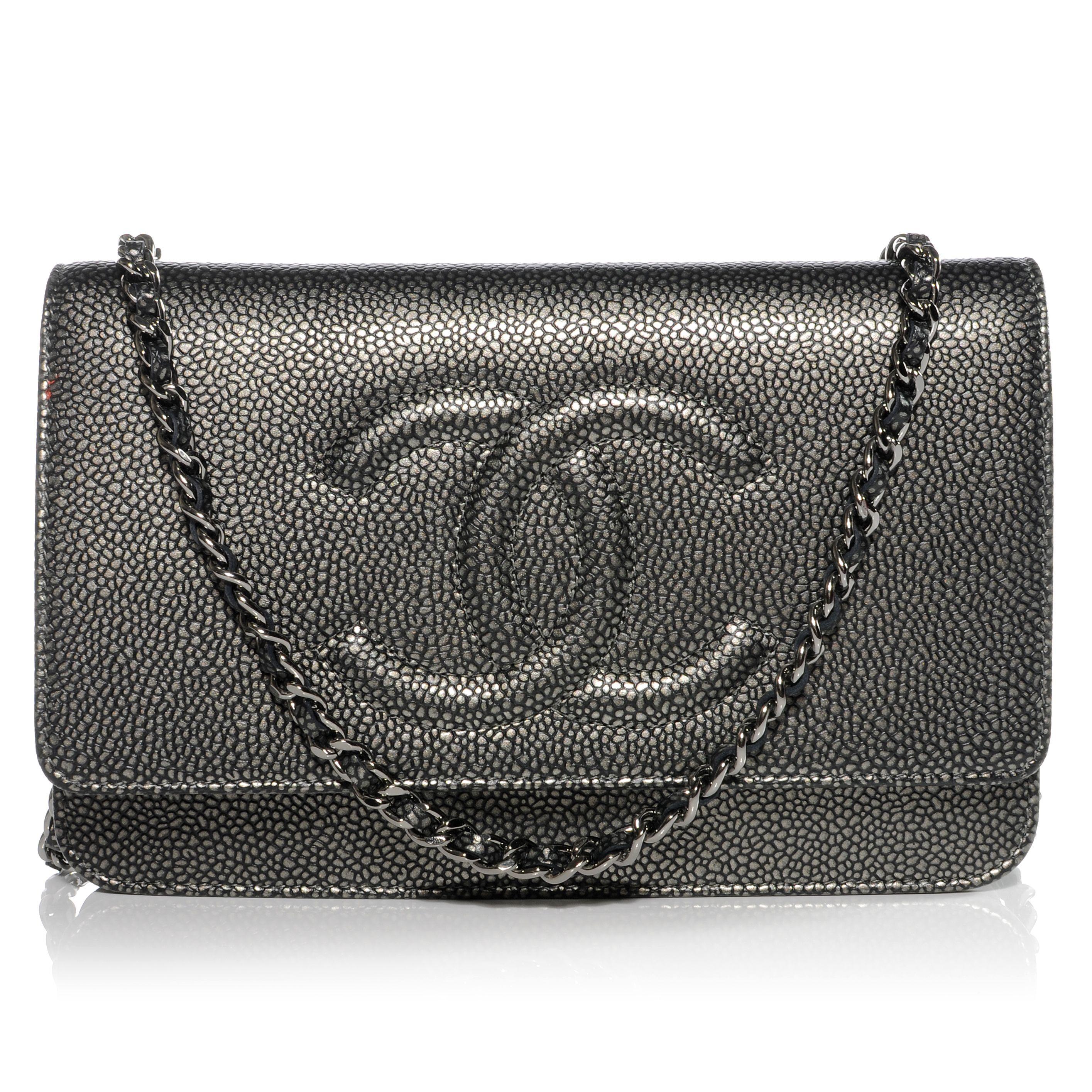 CHANEL Caviar Wallet on Chain WOC Metallic