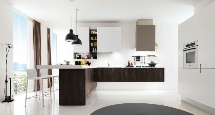 Cucine componibili moderne, in Ecolaccato opaco finitura seta ...