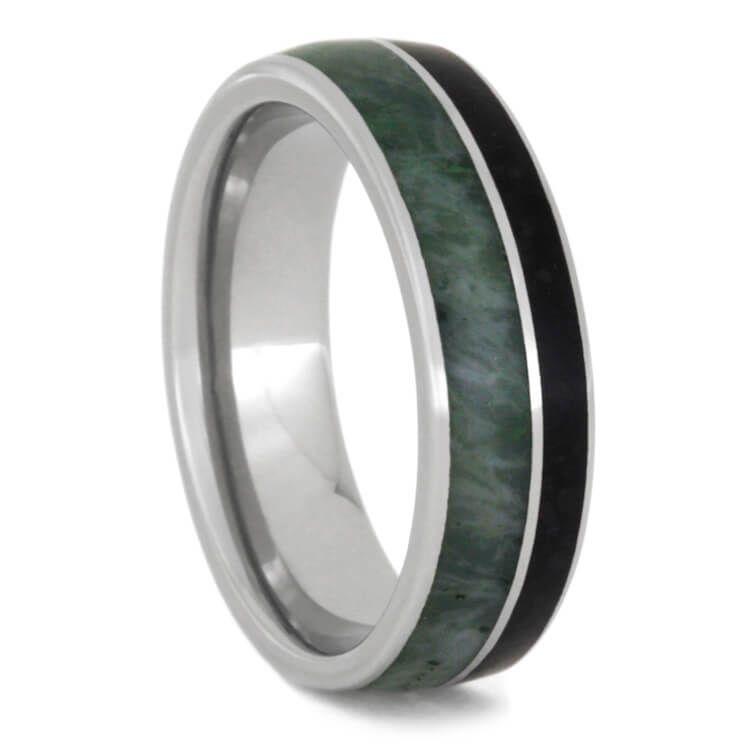 Jade Wedding Band Obsidian Ring In Titanium2358 Jade Titanium