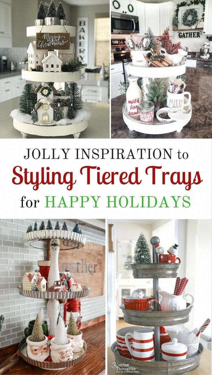 Styling tiered trays to help your home say happy holidays is what