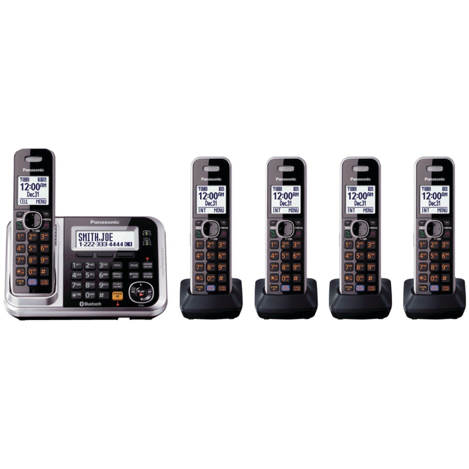 ac28cdecf Panasonic KX-TG7875S Link2Cell Bluetooth Cordless Phone with Enhanced Noise  Reduction   Digital Answering Machine - 5 Handsets