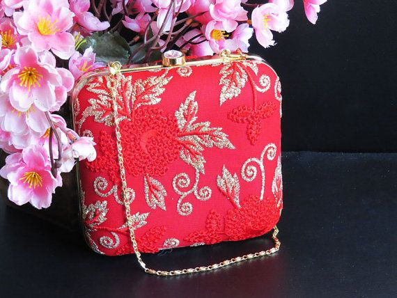 RED GOLD CLUTCH,Red box clutch, Red Floral bag, Red Handbag, Red gold minaudiere, Luxury evening Bag, wedding bag, bridesmaid bag