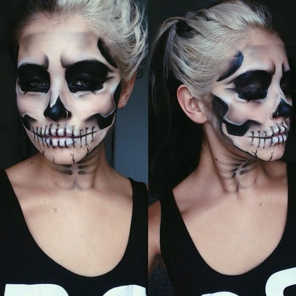 Kunstvolle Halloween Schminke Skelett Make Up Schminken
