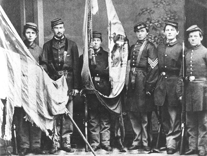 Another Unidentified Union Color Guard With Battle Damaged Colors