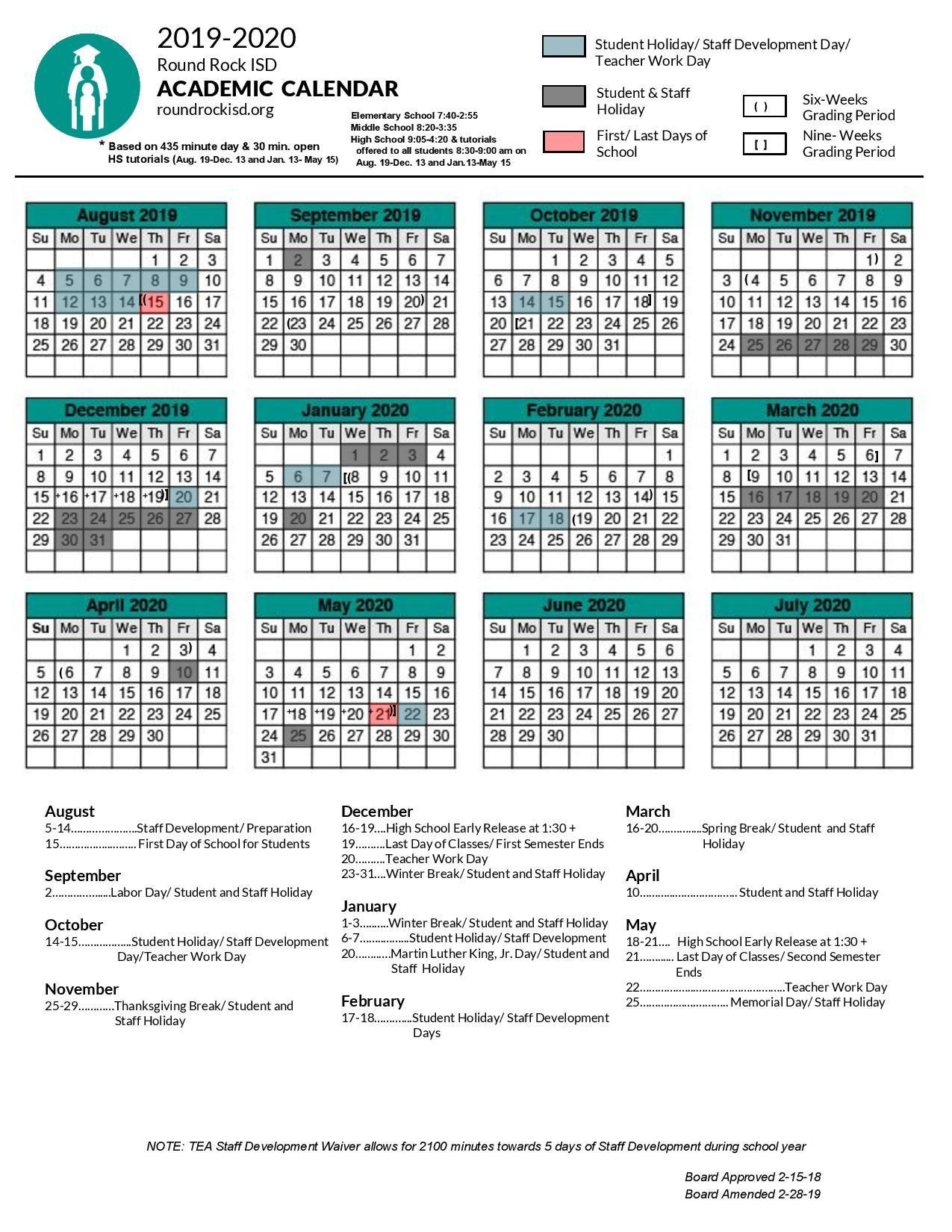 Round Rock ISD Calendar Printable Images Free Download https://