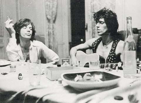 "Mick Jagger and Keith Richards while recording ""Exile on Main Street"""