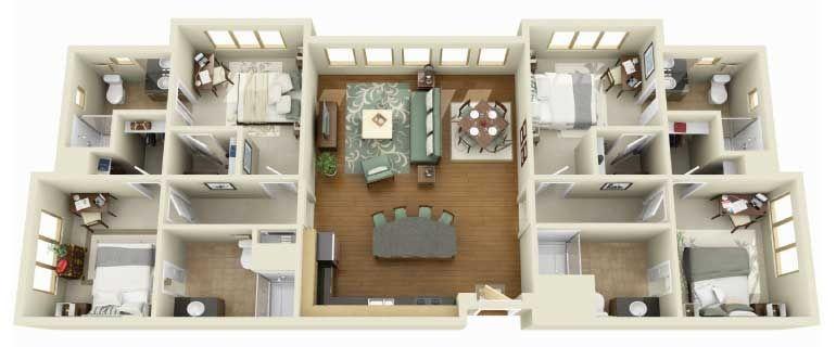 Plano De Casa Con Banos Amplios 29 House Floor Plan