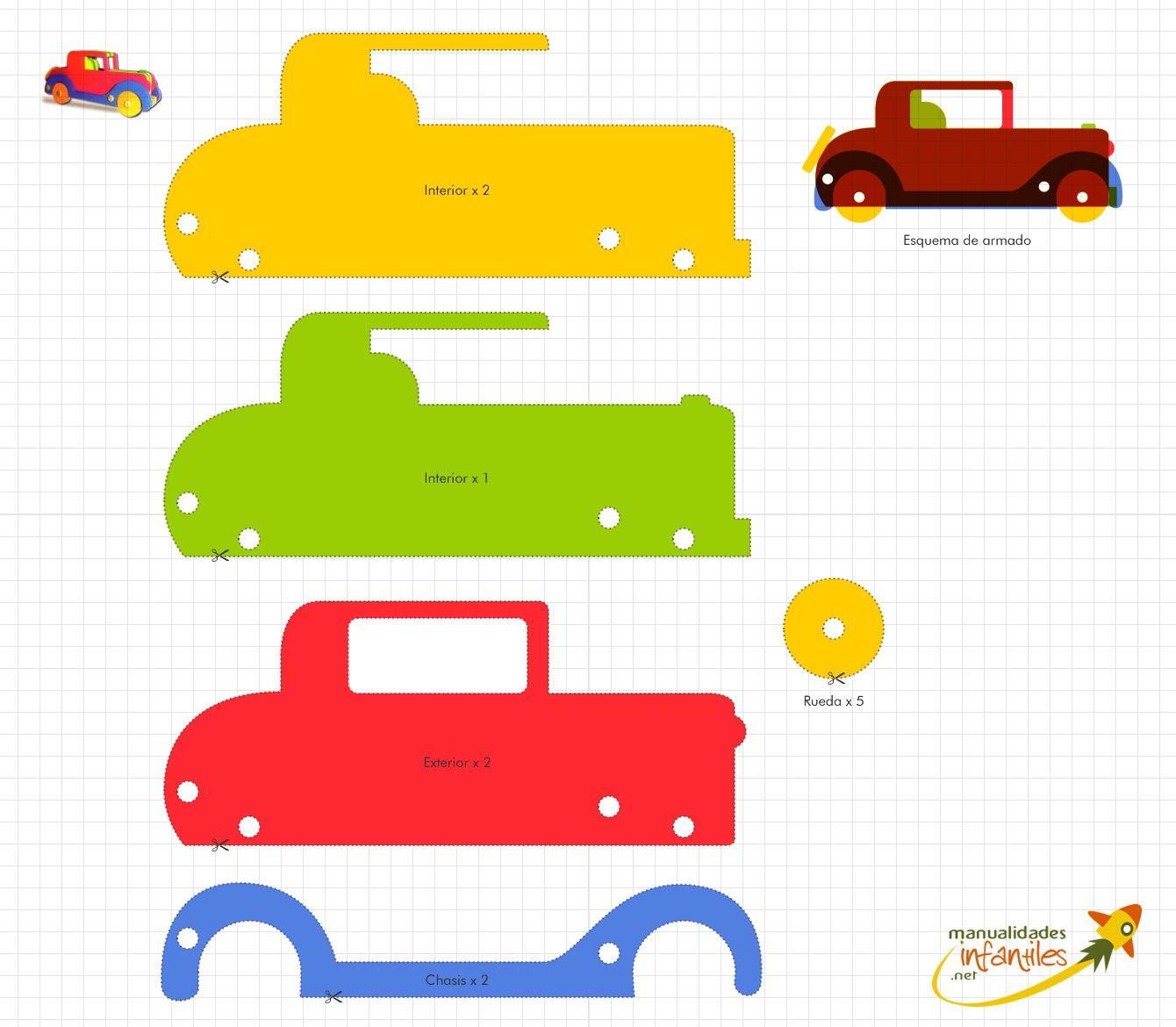 Plantilla para hacer un coche de goma eva | Goma eva, Gomitas y ...