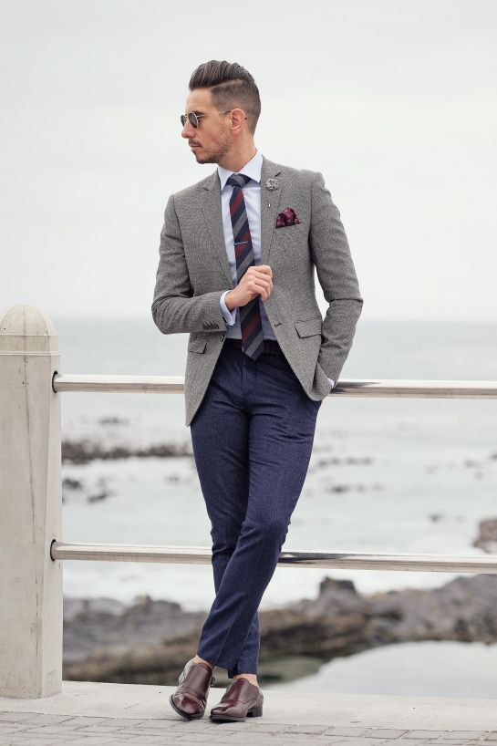 Gray blazer + striped tie + flower lapel + maroon pocket square + monk  strap shoes