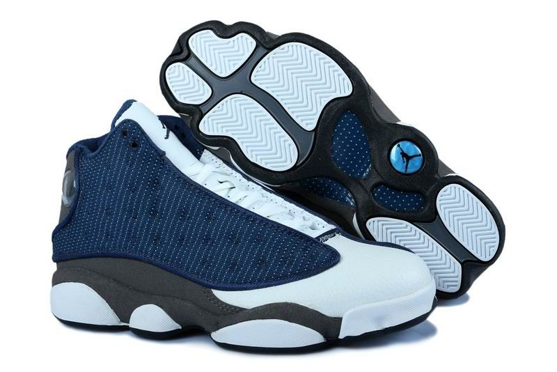 Air Jordan Retro 13 Flint men and Grils French Blue / University Blue /  Flint Grey