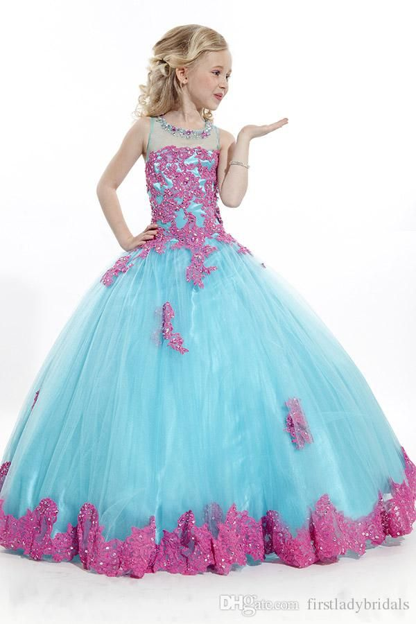 dc167a250 Kids Ball Gowns Pageant Girls Dresses White Tulle Red Lace Flowers ...