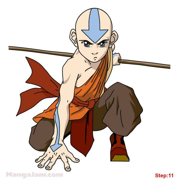 how to draw aang from avatar step 11