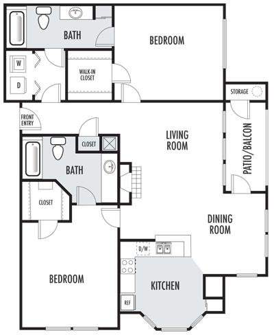 The Belmont Floor Plan 1 Floor Plans Apartments For Rent Bedroom Apartment