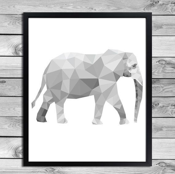 Geometrical animal print in black and white elephant