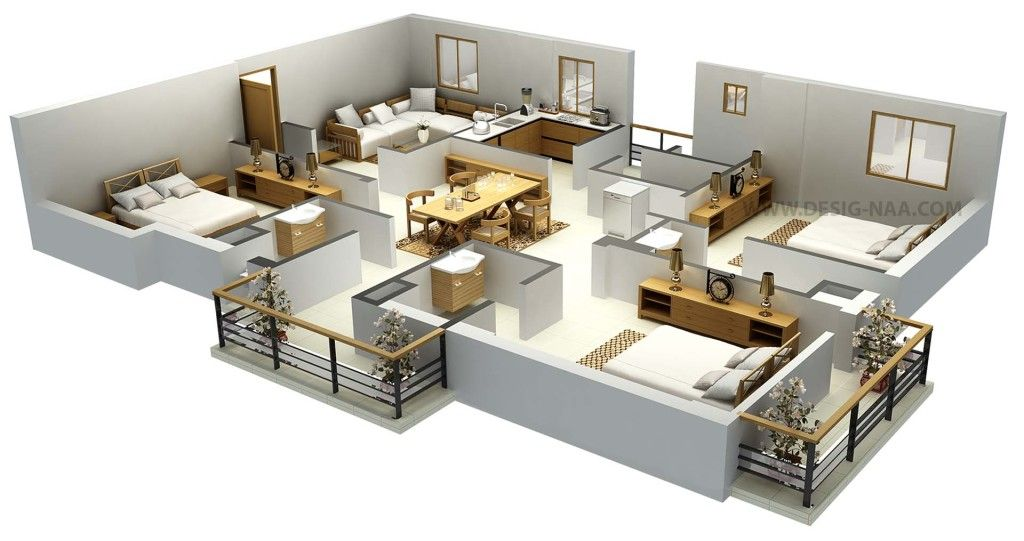 Impressive Floor Plans In 3d House Design Trends House Design 3d Home Design