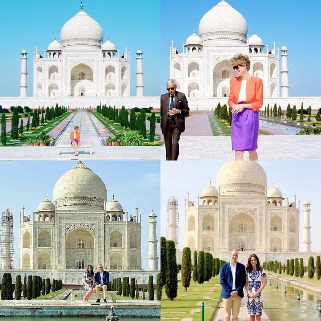 24 years after Princess Diana famously sat at the Taj Mahal by herself the year of her separation, her son, Prince William and his wife, Kate, sit in the same seat, happily married with two small children. The Taj Mahal is famous for being a symbol of enduring love, and while Diana's image at the Taj Mahal is infamous for symbolising her unhappiness, her sons image will be famous for the symbol of his happiness.