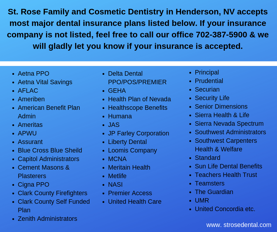 St Rose Family And Cosmetic Dentistry In Henderson Nv Accepts