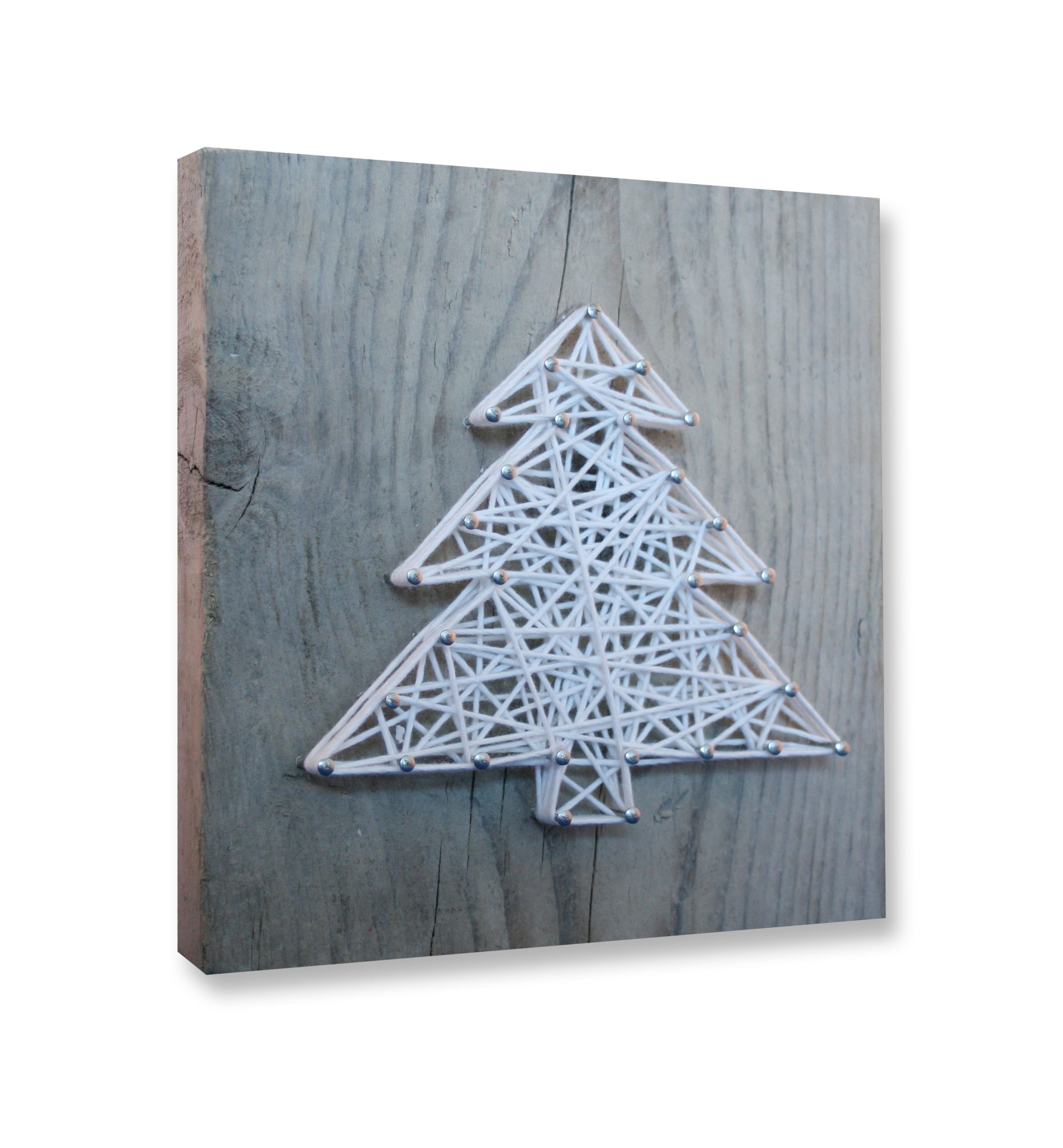 String Art Diy Christmas Package Including Wood Panel (20X20Cm), Nails, String