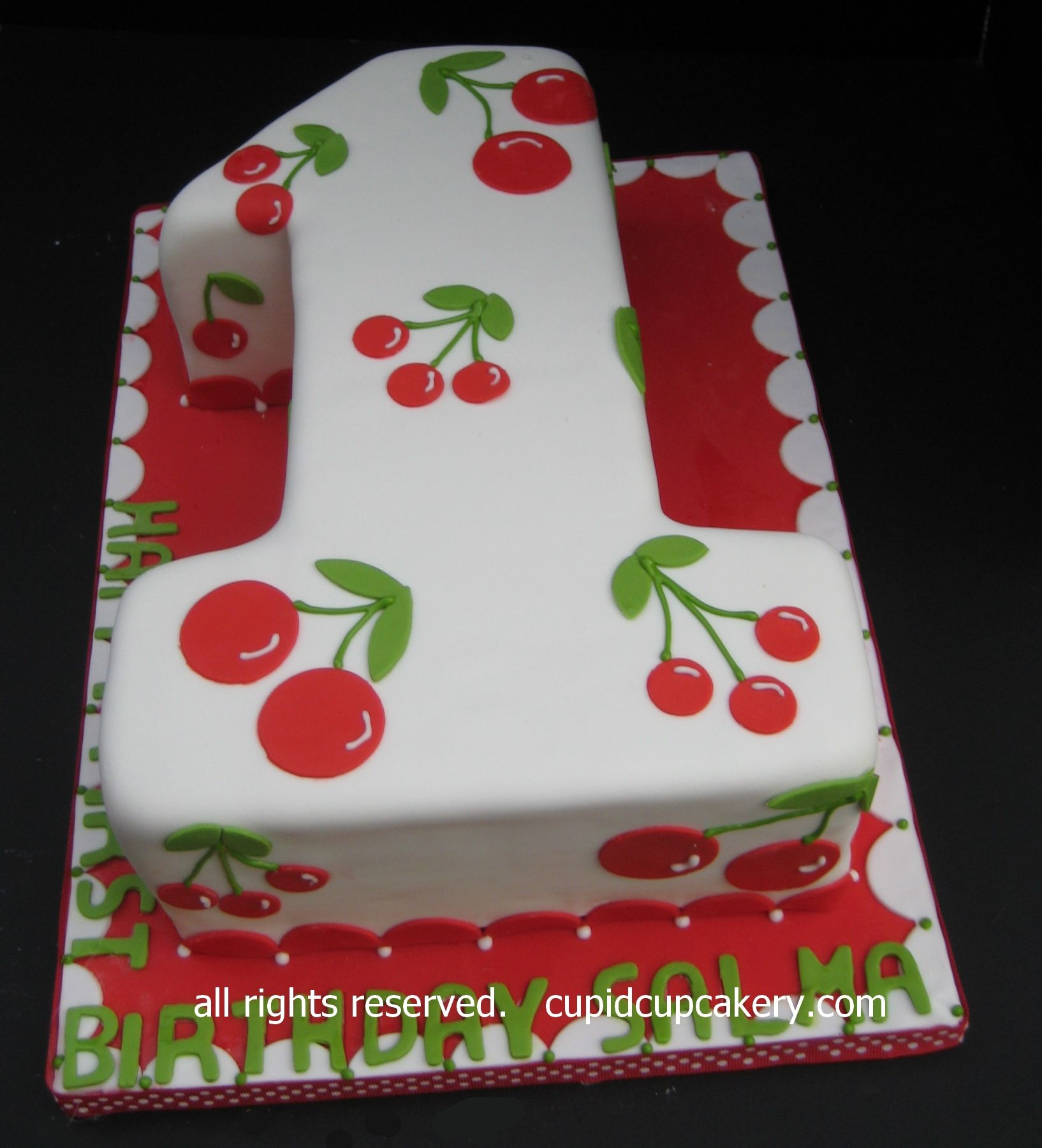 cherry theme number 1 birthday cake a customer liked the number