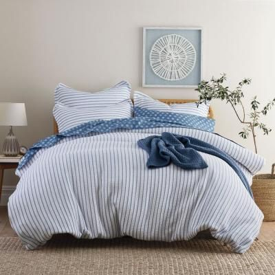 The Company Store Orion Navy Striped Organic Cotton King Duvet Cover 50383d K Navy Beige Bed Linen Cheap Bed Sheets Full Duvet Cover