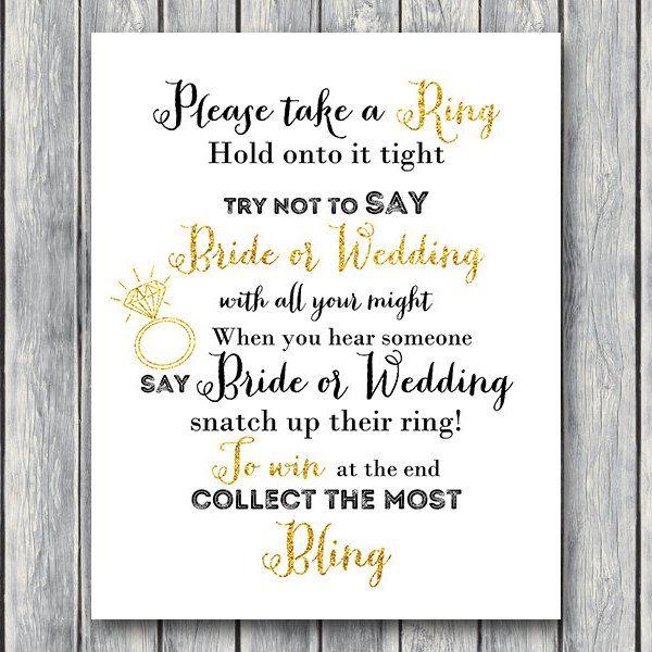 Dont Say Bride Or Wedding Game Bridal Shower Activity