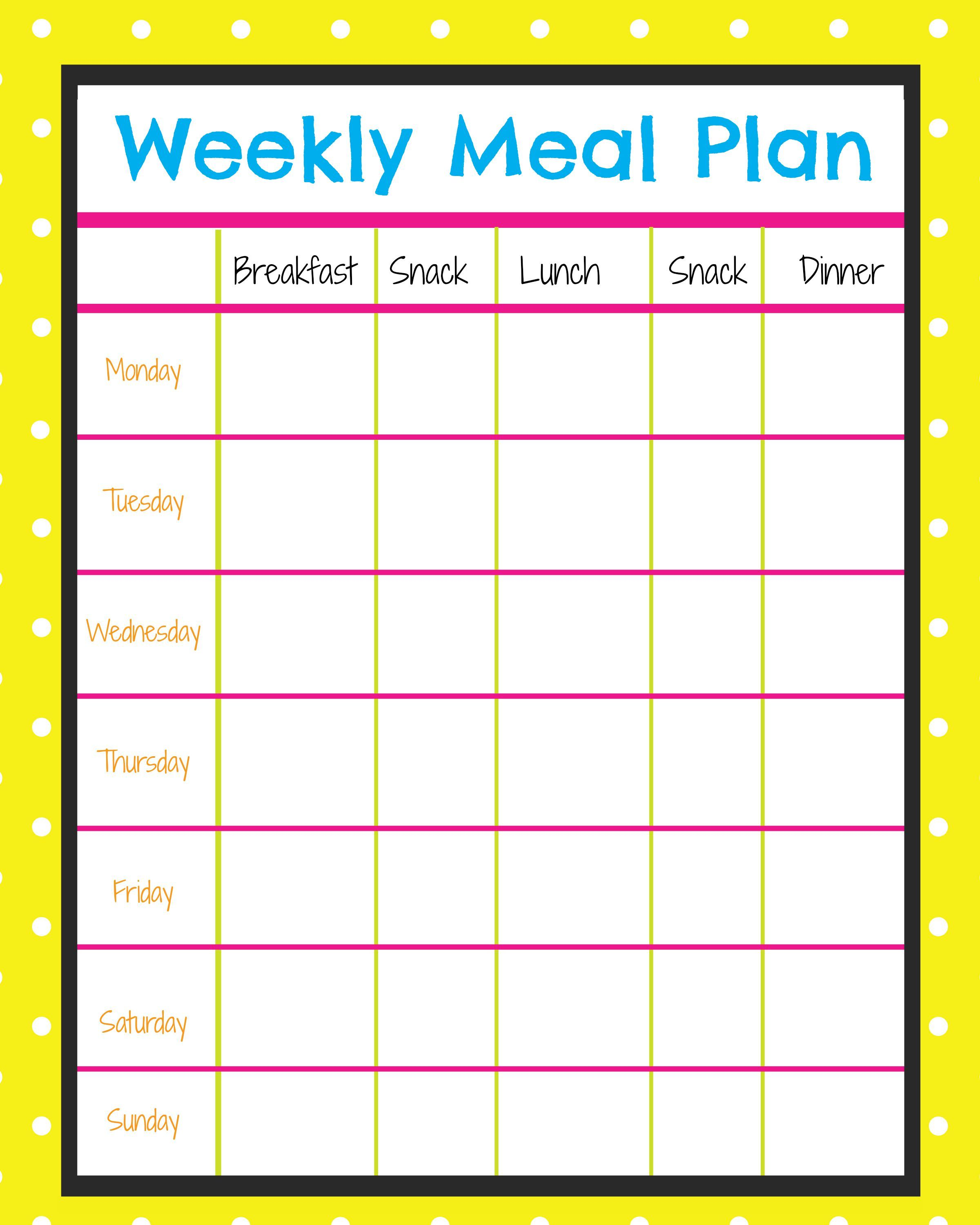 Weekly Calendar Breakfast Lunch Dinner : Free menu planner to plan out healthy snacks and meals