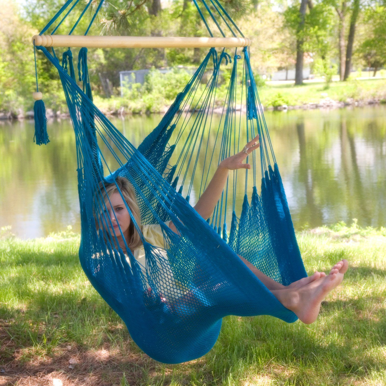 cedar rope pin beach deluxe hammocks cottage chair durawood double swing hammock nags pinterest head by