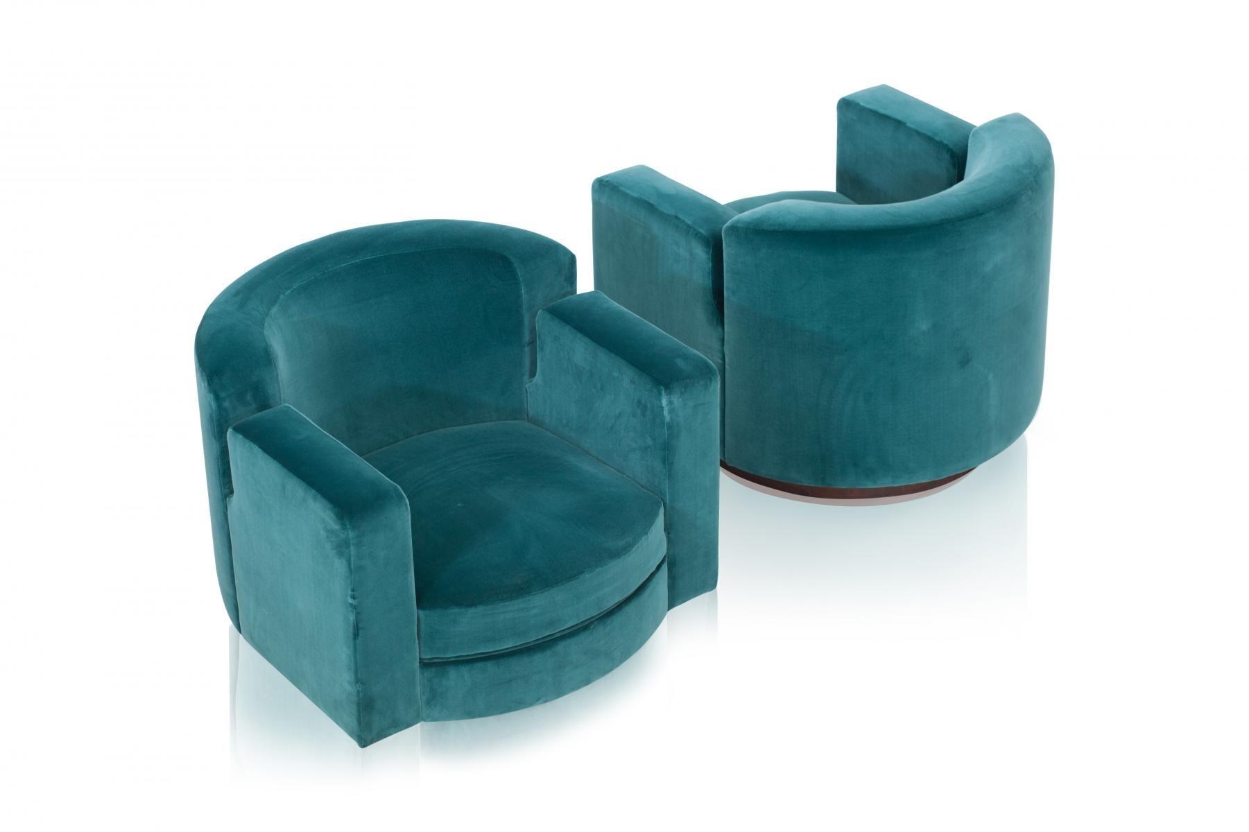 Blue velvet swivel lounge chairs by milo baughman 1960s